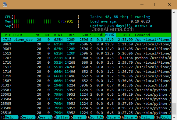 Terminal window with htop output