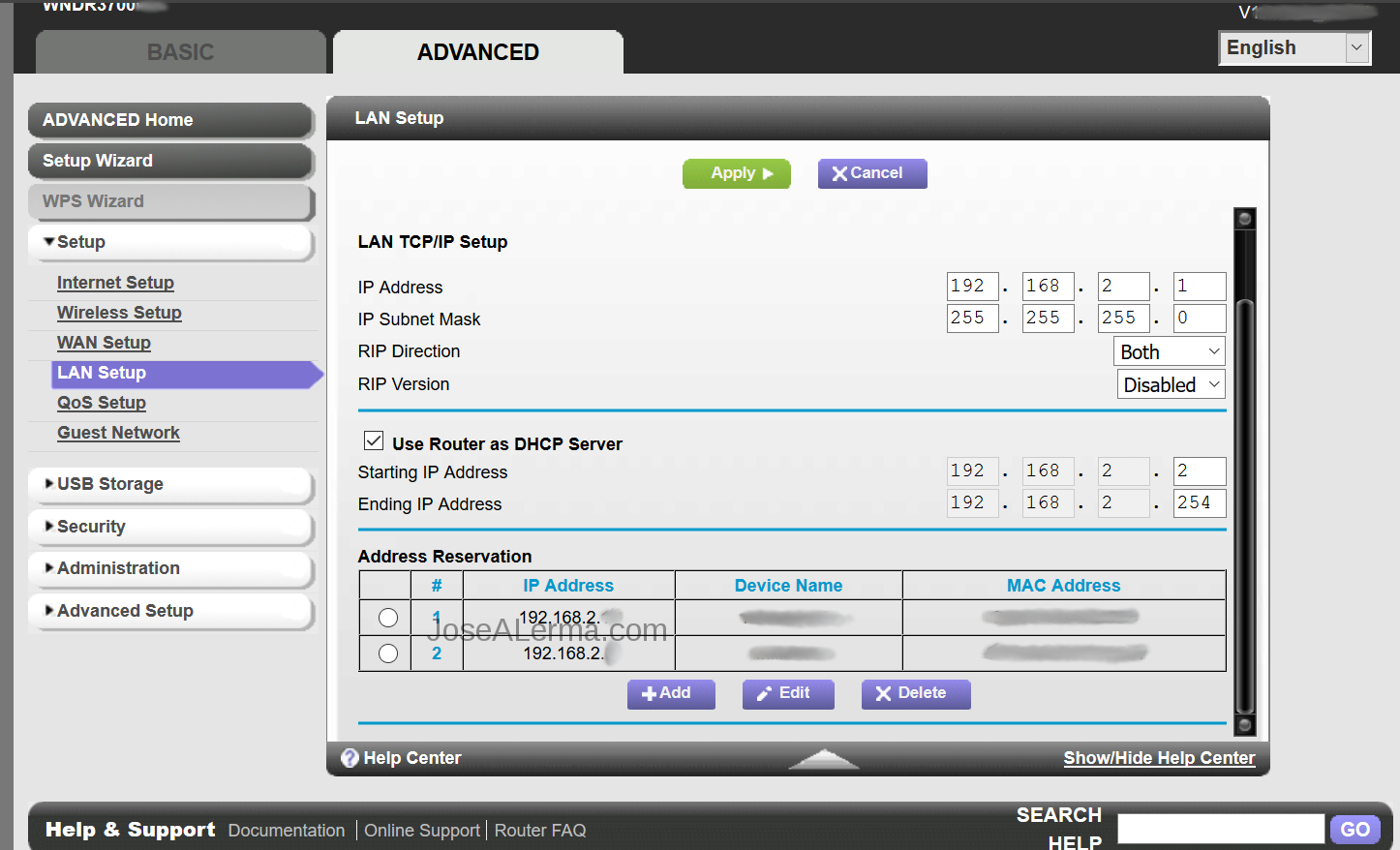 IP Address Reservation in router