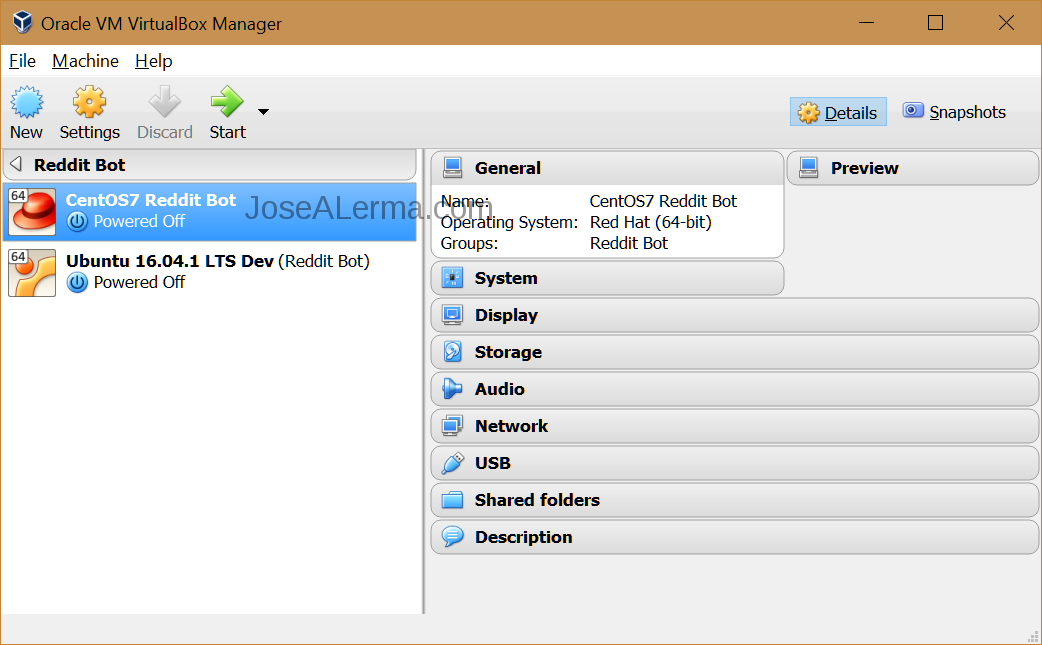 VirtualBox manager window with reddit bot virtual machines