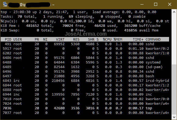Window with top output showing znc and ircd-hybrid running processes.