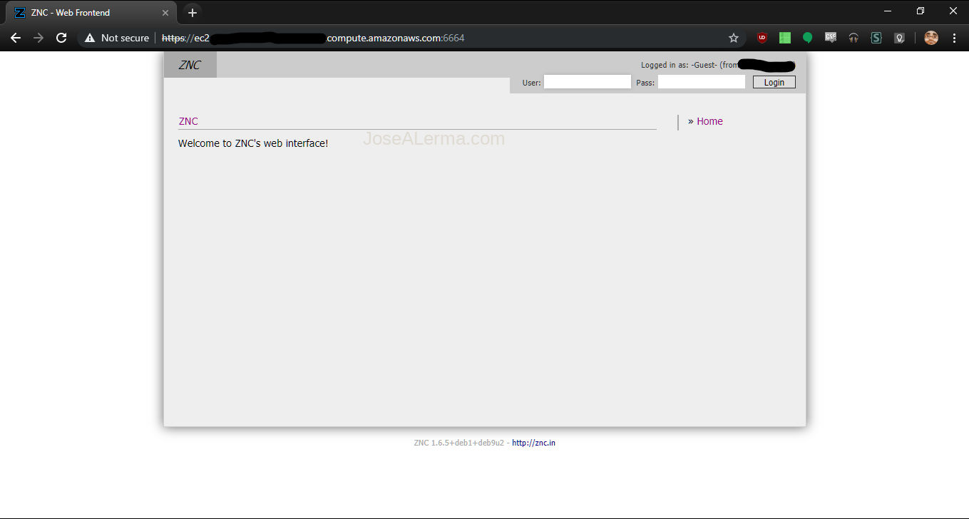 Chrome browser window with ZNC Webadmin default page.